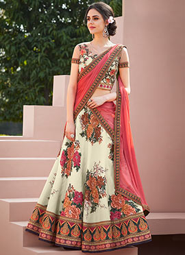 Cream Digital Printed Umbrella Lehenga