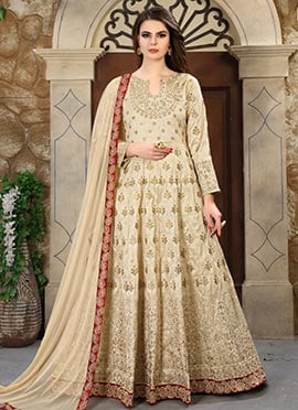 Cream Embroidered Abaya Style Anarkali Suit