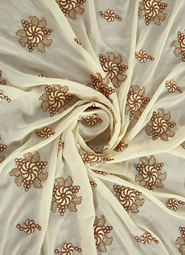 Cream Embroidered Chinnon Chiffon Fabric
