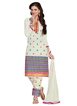 Cream Embroidered Cotton Straight Pant Suit