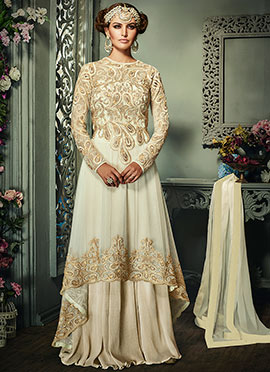 Cream Embroidered Long Choli Lehenga
