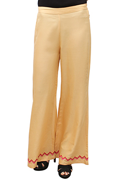 Cream Embroidered Palazzo Pant