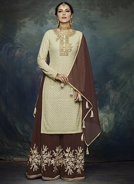 Cream Embroidered Palazzo Suit