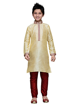 Cream Embroidered Striped Art Silk Boys Kurta Pyja