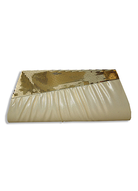 Cream Faux Leather Clutch