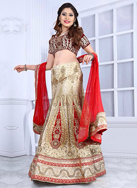 Cream Fish Cut Lehenga