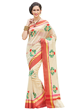 Cream Floral Pattern Supernet Embroidered Saree