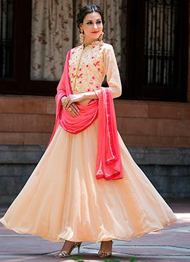 Cream Georgette Abaya Style Anarkali Suit