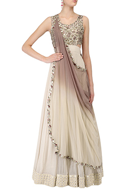 Cream Georgette Anarkali Suit
