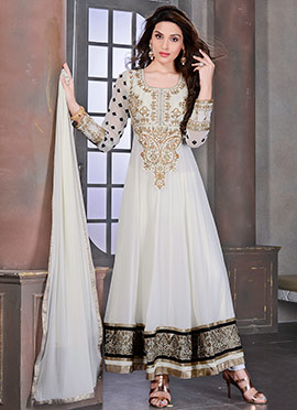 Offwhite and Cream Georgette Anarkali Suit