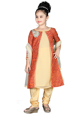 Cream Georgette Chanderi Kids Anarkali Suit