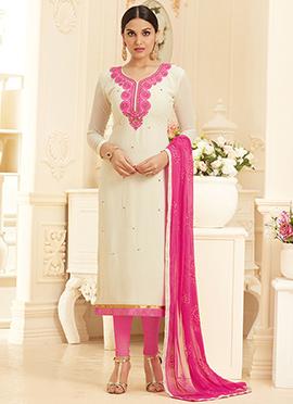 Cream Georgette Churidar Suit