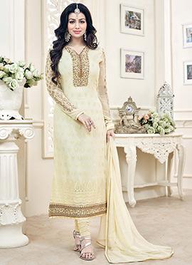 Ayesha Takia Cream Georgette Churidar Suit