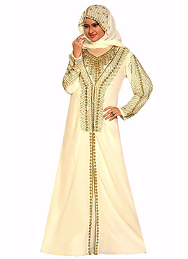 Cream Georgette Embellished Center Slit Fustan