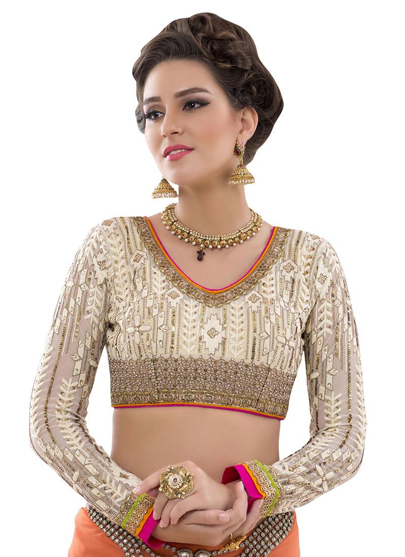 Buy Cream Georgette Embroidered Blouse Blouse Online Shopping BLSHTXVL151