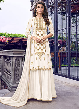Cream Georgette Embroidered Sharara Suit