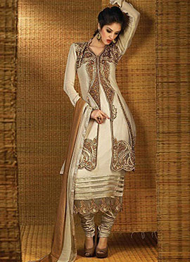Cream Georgette N Net Jacket Style Straight Suit