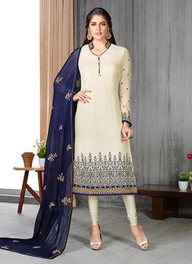 Cream Georgette Pakistani Style Straight Suit