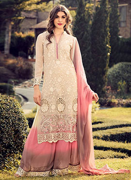Cream Georgette Palazzo Suit