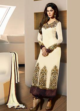 Cream Georgette Straight Pakistani Suit