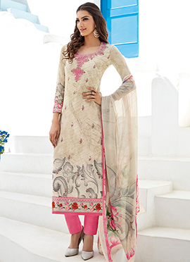 Cream Georgette Straight Pant Suit