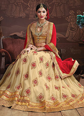 Cream Georgette Umbrella Lehenga Choli
