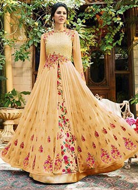 Cream Georgette Umbrella Lehenga