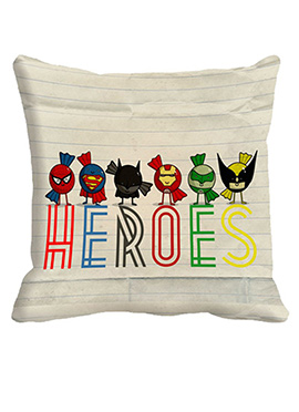 Cream Heroes Polyester Cushion Cover
