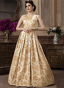 Cream Jacquard Anarkali Gown