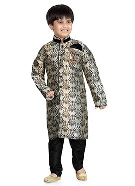 Cream Jacquard Art Silk Kids Kurta Pyjama