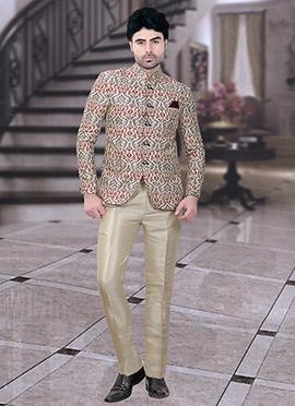 Cream Jacquard Bandhgala Suit