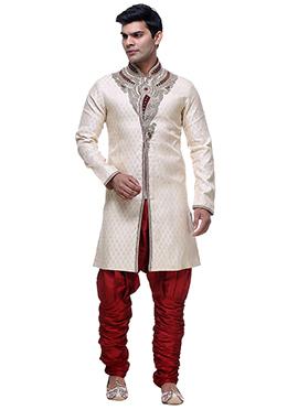 Cream Jacquard Breeches Sherwani