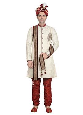 Cream Jacquard Breeches Style Sherwani