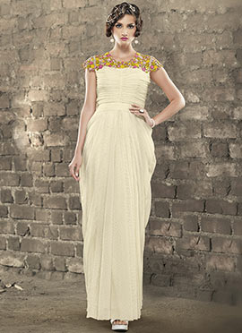 Cream Jacquard Draped Gown