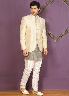 Cream Jodhpuri Style Indowestern Sherwani