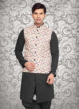 Cream Jute Nehru Jacket