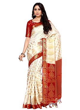 Cream kancheepuram Silk Saree