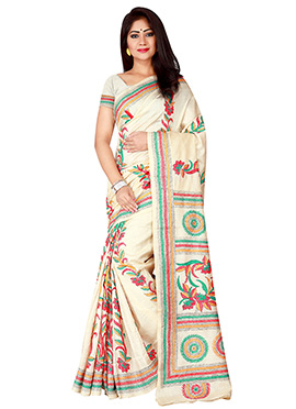 Cream Kantha Embroidered Saree