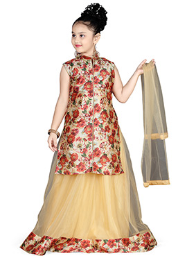 Cream Kids A Line Long Choli Lehenga