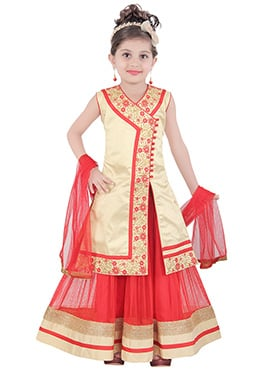 Cream Kids Angarkha Style Long Choli Lehenga