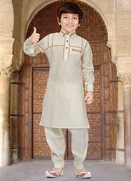 Cream Kids Art Silk Cotton Pathani Set