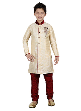 Cream Kids Breeches Style Sherwani
