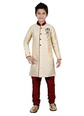 Cream Kids Breeches Style Sherwani
