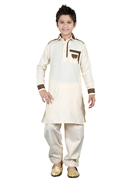 Cream Kids Kurta Pyjama
