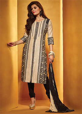 Cream Linen Churidar Suit