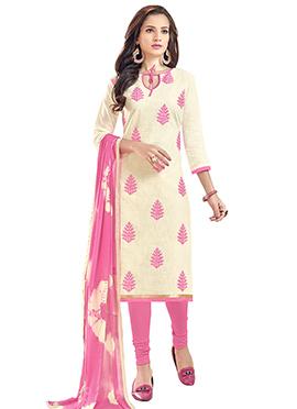 Cream Linen Churidar Suit