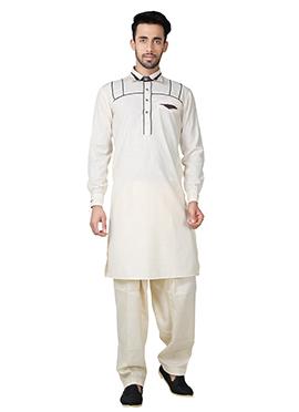 Cream Linen Cotton Pathani Set