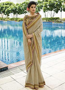 Cream Lining Silk N Khadi Silk Saree