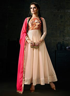 Cream Lycra Ankle Length Anarkali Suit