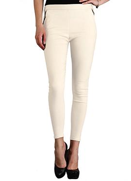 Cream Lycra Cotton Straight Pant